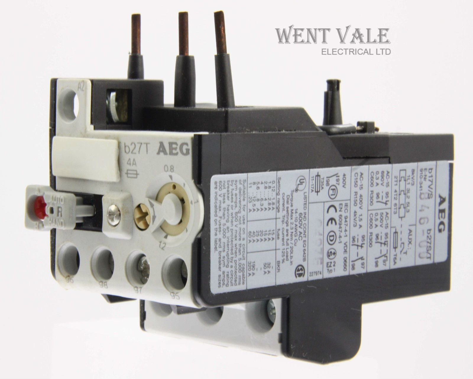 AEG B27T-910-341-846-00 - 4a Thermal Overload Relay 0.8 - 1.2a New ...