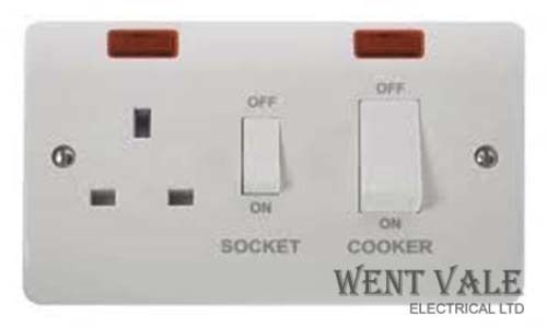 Click Mode CMA505 - Moulded 45a Cooker Control Switch and Socket with Neons  New