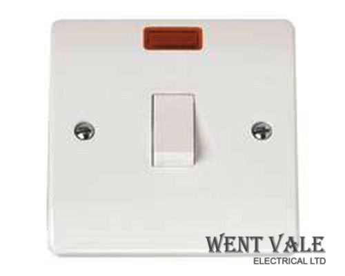 Click Mode - CMA623 - White Moulded 20a Double Pole Switch with Neon New