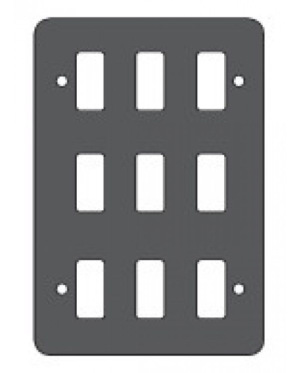 Crabtree Rockergrid 6589/BG - 9 Module Metalclad Switch Plate Un-used