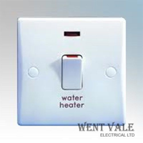 GET Ultimate Slimline - GU2014WH - White Moulded 20a Double Pole Switch With Neon 'Water Heater' New