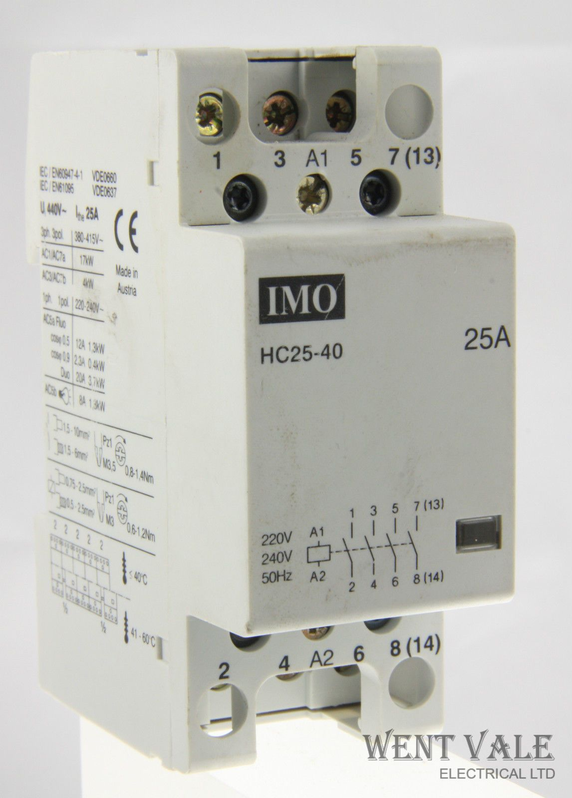IMO HC25-40 - 25a Four Pole Normally Open Contactor with 220-240 vac on
