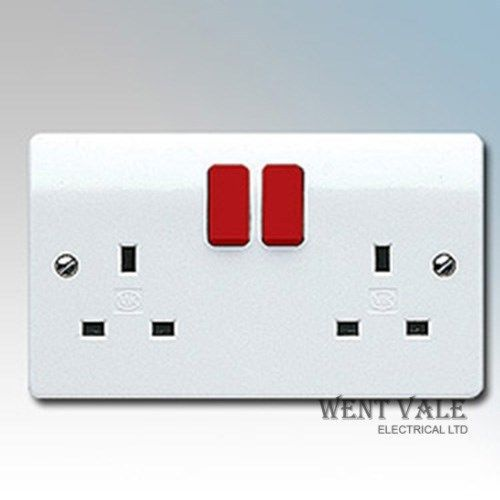 MK Logic Plus - K2747D1 WHI - 13a Twin Double Pole Switched Socket Red Rockers New